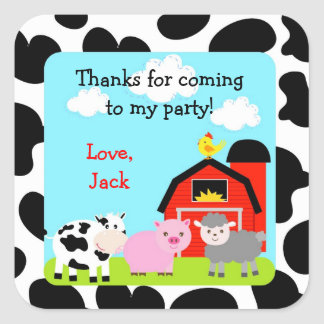 Barnyard farm Birthday Baby Shower favor stickers