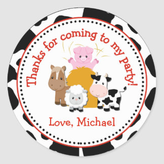 Barnyard Farm Birthday Party Favor Tag Sticker