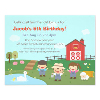 Barnyard Farmhands Kids Birthday Party Invitations