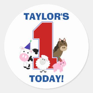 Barnyard First Birthday Sticker