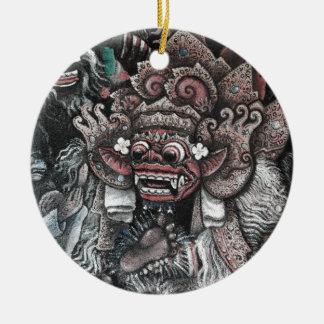 Barong and Rangda Bali Round Ceramic Decoration