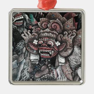 Barong and Rangda Bali Silver-Colored Square Decoration