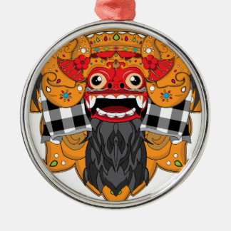 Barong Bali Silver-Colored Round Decoration