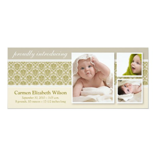 Baroque 3-Photo Birth Announcement (taupe)