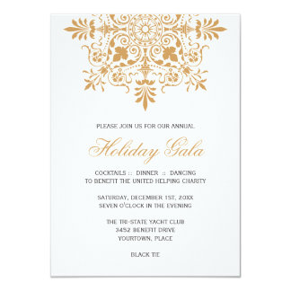 Baroque Amber Ornamental Holiday Gala Card