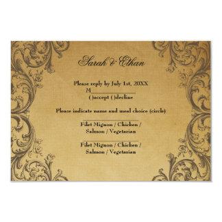 Baroque Antique Gold Wedding RSVP Cards