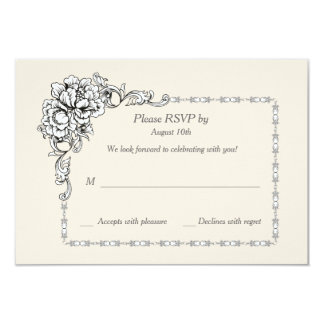 Baroque Beauty Response Cards 9 Cm X 13 Cm Invitation Card