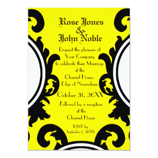 Baroque Black (Yellow) Wedding Invitation