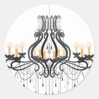 Baroque Chandelier Round Sticker