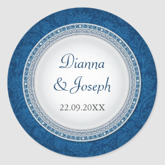Baroque Cobalt Plaque Wedding Sticker