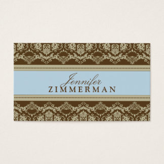 Baroque Damask Designer Business Card :: baby blue