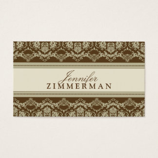 Baroque Damask Designer Business Card :: taupe