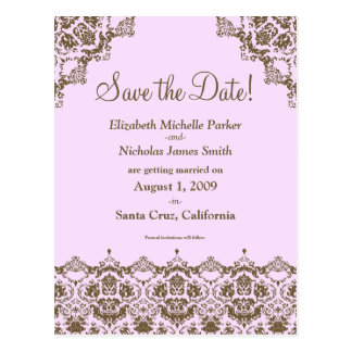 Baroque Damask Pink Lace Save the Date Postcard