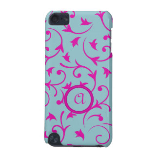 Baroque Design with Personalised Disc Pink & Blue iPod Touch (5th Generation) Case