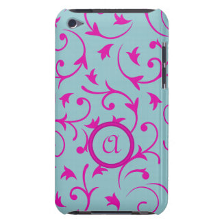 Baroque Design with Personalised Disc Pink & Blue Barely There iPod Covers