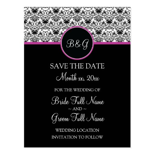 Baroque Elegance Save The Date Postcard (Hot Pink)