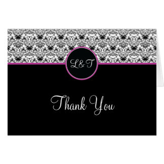 Baroque Elegance Thank You Card  (Hot Pink)