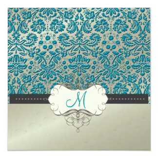 Baroque faux foil lace/teal Invitations