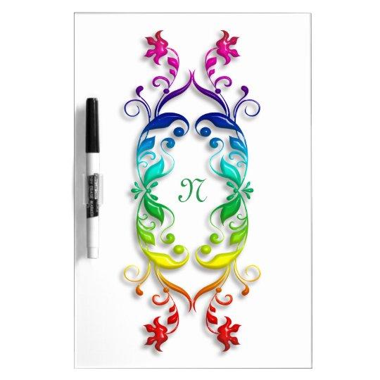 Baroque floral rainbow element. Monogram. Dry Erase Board