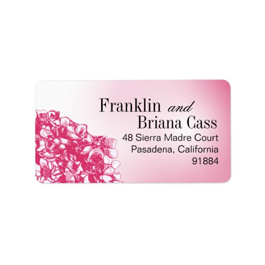 Baroque Flowerball - fuschia Address Label