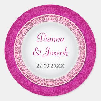 Baroque Fuchsia Plaque Wedding Sticker