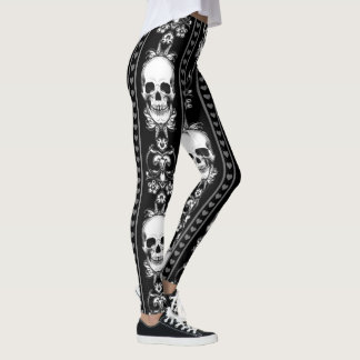Baroque Gothic Skull Stripe Leggings