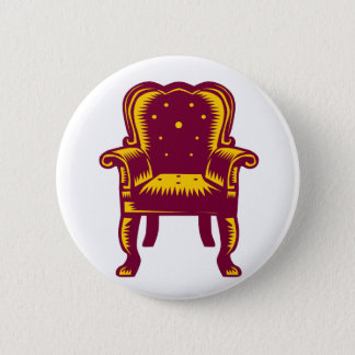Baroque Grand Arm Chair Woodcut 6 Cm Round Badge