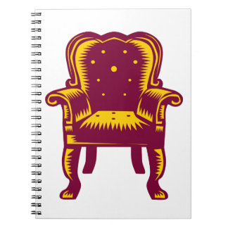 Baroque Grand Arm Chair Woodcut Notebooks