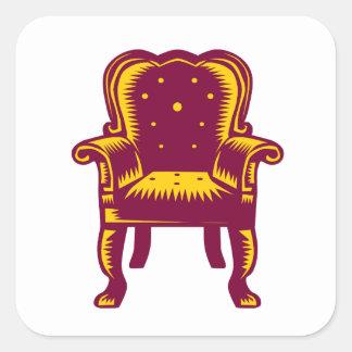 Baroque Grand Arm Chair Woodcut Square Sticker