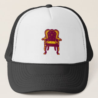 Baroque Grand Arm Chair Woodcut Trucker Hat