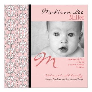 Baroque in Pink Baby Girl Announcement