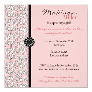 Baroque in Pink Girl Baby Shower Invitation