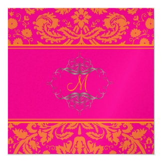 Baroque lace damask/orange/pink/Invitations Card