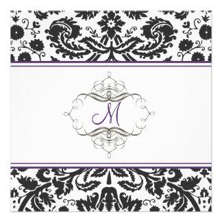 Baroque lace damask purple Invitations