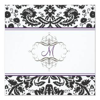 Baroque lace damask/purple Invitations
