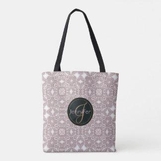 baroque lace pattern.monogram. tote bag