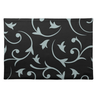 Baroque Large Design Light Teal & Black Placemats