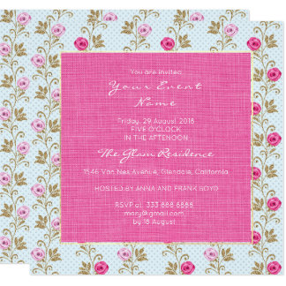 Baroque Marie Antoinette Floral Pastel Pink Roses Card