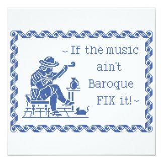 Baroque Music Motto 13 Cm X 13 Cm Square Invitation Card