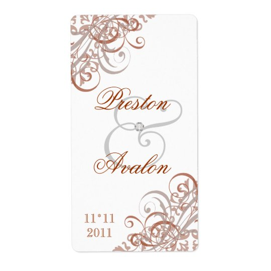 Baroque Orange Scroll White Wedding Wine Label Shipping Label