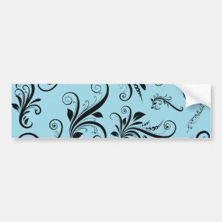 Baroque Ornamental Antique Damask Blue, Black Bumper Sticker