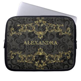 Baroque Ornate Gold Pattern-Optional Monogram Laptop Sleeve