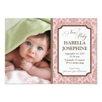 Baroque Pattern Baby Birth Announcement (pink)