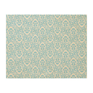 Baroque pattern light blue white wood print