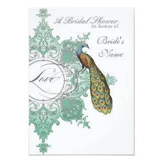 Baroque Peacock Bridal Shower Invite - Blue Green