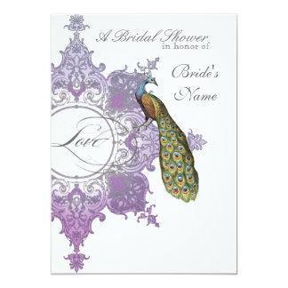 Baroque Peacock Bridal Shower Invite - Purple