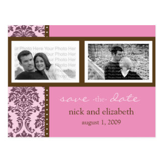 Baroque Pink Chocolate Two-Photo Save the Date Postcard