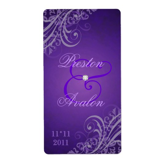 Baroque Purple Scroll Purple Wedding Wine Label Shipping Label