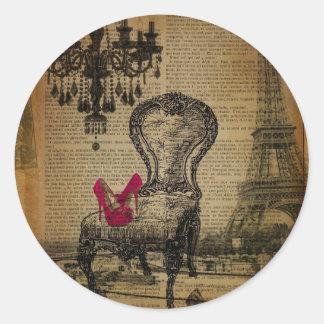 baroque rococo chandelier paris eiffel tower classic round sticker