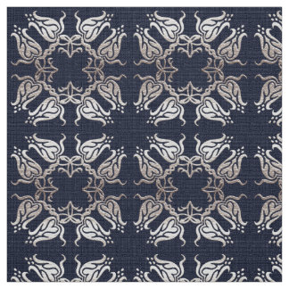baroque style floral  blue pattern fabric